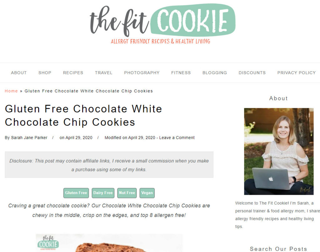 The Fit Cookie Website Using Recipe Key Plugin